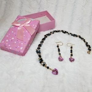 Black Jet Bead necklace and earring set